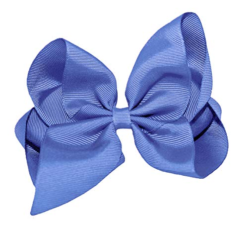 WD2U Girls 8' Classic Extra Large Boutique GrosGrain Hair Bow Alligator Clip USA Periwinkle