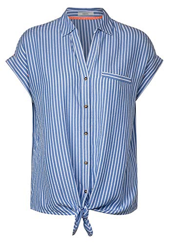 Cecil Damen 342072 TOS Stripe Knot Bluse, Blouse Blue, Large