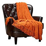Chanasya Textured Knitted Super Soft Throw Blanket with Fringe Tassels - Warm Cozy Plush Lightweight Blanket for Bed Chair Couch Living Room Bedroom Outdoor and Home Decor (50x65 Inches) Orange