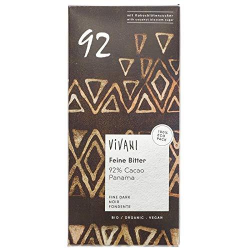 Vivani Organic Chocolate 92% Choc Oscuro Panamá 80g | Sin lactosa | vegano (Pack de 6)