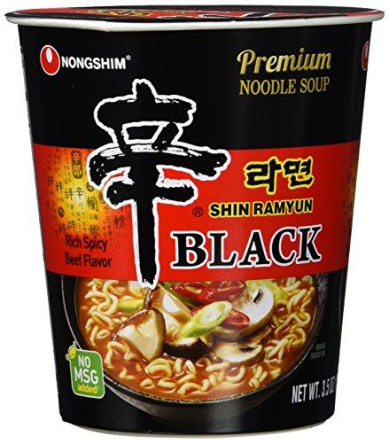 Nong Shim Instantnudeln Shin Ramyun Black – Koreanische Rindfleisch Cup Suppe scharf mit Knoblaucharoma - schnelle Zubereitung – 6er Vorteilspack à 100g