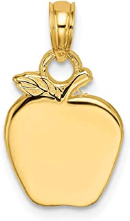 14k Yellow Gold 2 D Apple Pendant Charm Necklace Career Professional Teacher Fine Jewelry Gifts For Women For Her