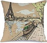 Decoración Throw Pillow Cover Funda de cojín Ciudad azul Torre de tinta Eiffel Horizonte de acuarela Vintage Arquitectura de París Hermoso dibujo Francia Funda de Cojine 45 X 45CM