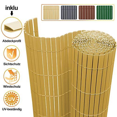 VINGO PVC Sichtschutzmatte 100x1000cm Bambus, Sichtschutzzaun Balkon Zaun Sichtschutz, für Garten Terrasse Außenbereich Swimming Pools, Windschutz Wetterfest Sichtschutz