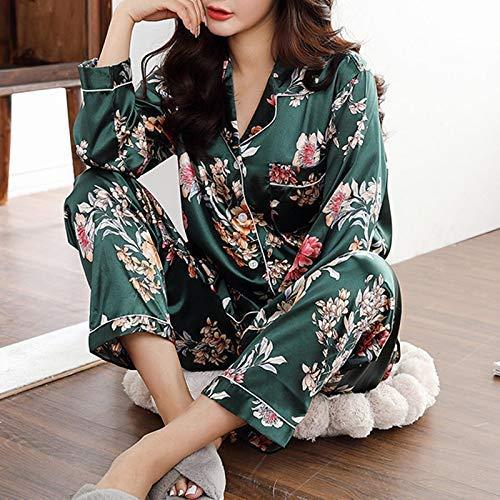 Huaheng dames 2-delig pyjama-set bedrukt bloemenpatroon button-down lange mouwen nachtkleding vrije tijd top broek X-Large donkergroen