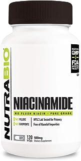 NutraBio Niacinamide Supplement – Flush Free Vitamin B3 (120 Vegetable Capsules, 500mg Each)