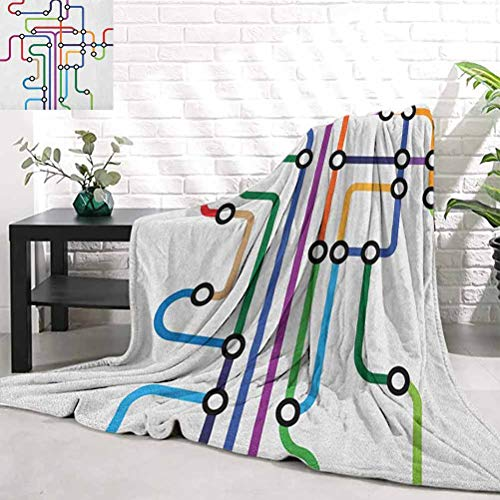 RenteriaDecor Map,Colorful Abstract Subway Map Lines and Dots Navigation Guide Modern Underground Railway, Multicolor Soft Bedding Home Textiles W40 x L60 Inch