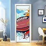 KEXIU 3D Rugby de Doodle PVC fotografía adhesivo vinilo puerta pegatina cocina baño decoración mural 77x200cm