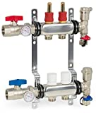 VIVO 2 Loop 1/2 inch Pex Manifold Stainless Steel Radiant Floor Heating Set | 2 Branch Kit (PEX-M12-2)