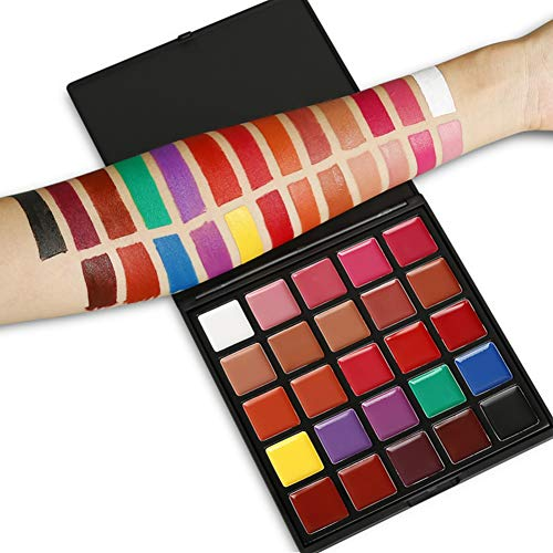 Qianren Körperbemalungspalette 25 Farben Weicher Wachsmalstift Wasserdichter, langlebiger Gesichtsbemalungs-Lippenstift