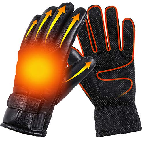 USB Heated Gloves Winter Electric Warming Gloves for Men and Women, Thermal Heated Gloves for Cycling, Hand Warmers for Men and Women, Waterproof Leather Heating Gloves for Fishing, Riding, Cycling