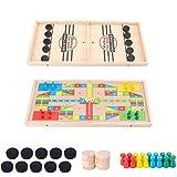 LCJDD Schnell Sling Puck Spiel und Fliege Schach-Spiel, Double-Sided Holz Desktop-Toy Kinder Ejection Spiel, Erwachsene Eltern-Kind-interaktive Tafel Tischspiel (22 x 11,8 Zoll) (Size : Double)