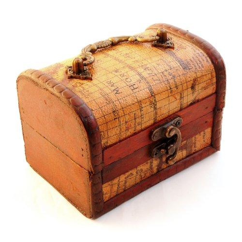 Ganzoo schatkist ter decoratie (antiek) met lederen bekleding in landkaartstijl, kist van hout voor het opbergen van sieraden en kleine onderdelen - merk