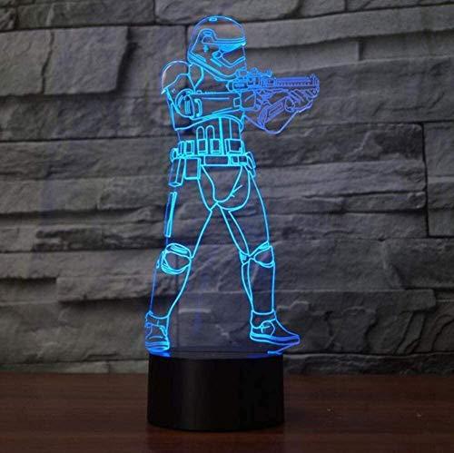 Lámpara de mesa LED 3D de diseño de soldado para mesita de noche, luz nocturna, iluminación de dormitorio, decoración de dormitorio