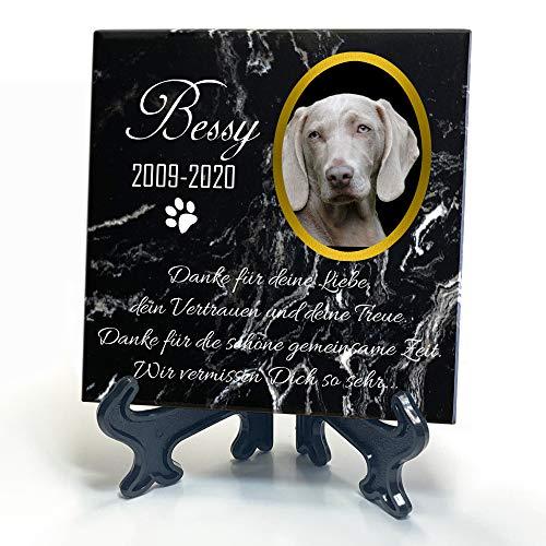 TULLUN Individueller Personalisiert Schwarz Natur Marmor Gedenkstein + Ständer für Hund, Katze und andere Haustiere - Größe 10 x 10 cm - Personalisiert Text und Foto