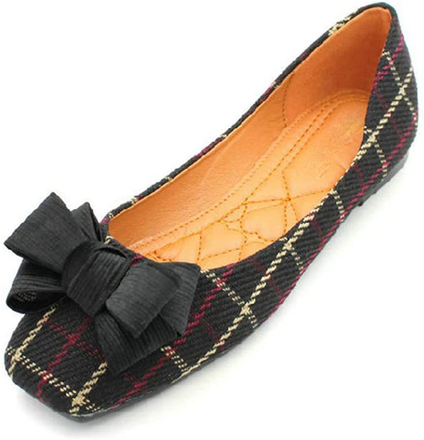 August Jim Flats shoes for Women Check Gingham Bowknot Square Toe Ballet Flat shoes
