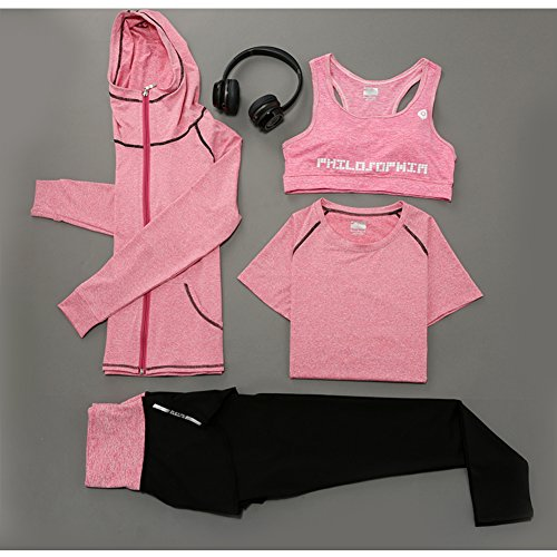 Huluwa Yoga Suit, Women's 4 Piece Activewear Set, Running Suit Gym Outfit Workout Sports Wear, Fitness Training Set, Pink, US L/ ASIAN  XL