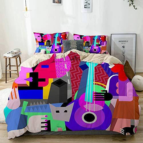 MEJX Bedding Juego de Funda de Edredón,Beige,Picasso La Pareja de Baile y la Mujer Tocando la Guitarra Danza Fina Cubismo Abstracto,Microfibra SIN Relleno,(Cama 140x200 + Almohada)