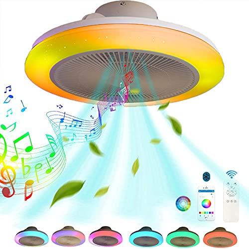 VOMI Smart RGB Color Plafón LED Ventilador de Techo con Luz y Mando a Distancia Silencioso Regulable APP Lampara de Techo Música Altavoz Bluetooth Infantil Dormitorio Ventiladores Luces Redondas 60W