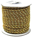2 Ply Twisted Cord Rope Decorative, Gold Trim, 3mm, 25 Yards (Gold)