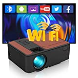 """Portable Bluetooth WiFi Projector with HDMI USB Indoor Outdoor Movie Game,Wireless Smart Android Projector Support Airplay Full HD 1080P 150"""" Display for TV Box DVD Player PC PS4 Laptop PS4 AV VGA -  ZCGIOBN"""