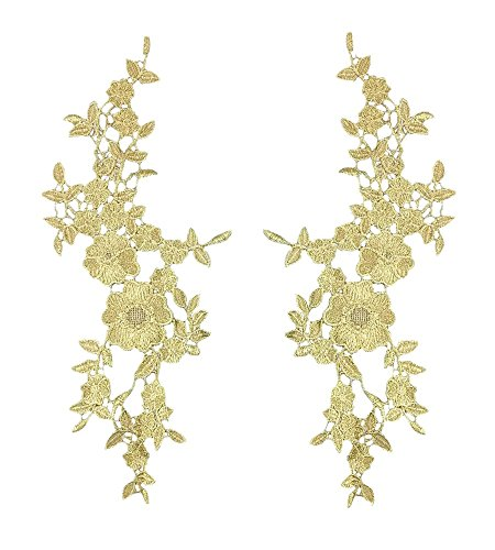 Honbay 1 Pair Gold Flower Leaves Embroidery Applique Patch Sewing Craft Decoration