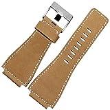 Nueva correa de reloj de 24 mm hebilla de piel auténtica Fit BR001 BR003 Militar de banda, color beige