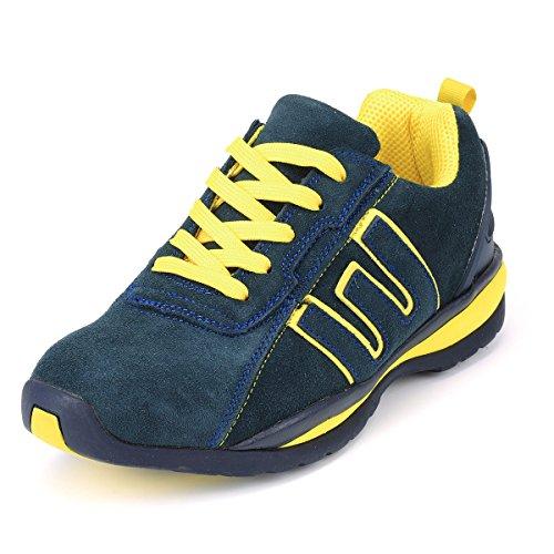 Zapatos de seguridad, zapatos de trabajo, zapatos protectores, gorra de acero, tamaño azul / amarillo.  36-48