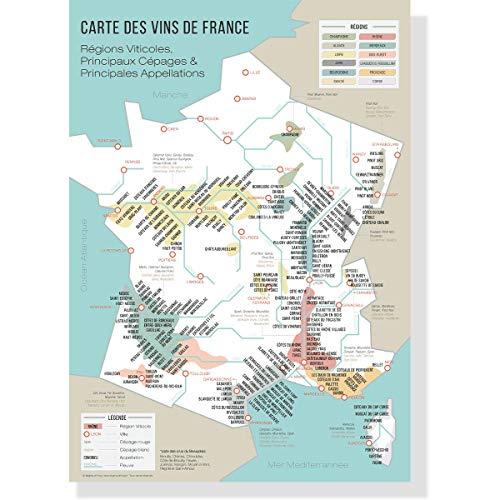 Mapa de los vinos de Francia A3 – viñedos franceses – regiones vitivolícolas – póster vintage