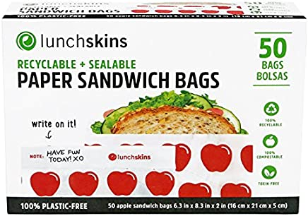 Lunchskins 100% Recyclable + Sealable Sandwich Bags, Apple (Box of 50) Sandwich Red Apple