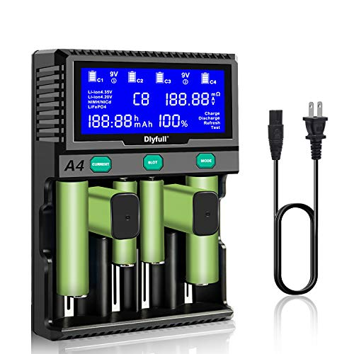 LCD Display Battery Charger 4 Slot 2 9V Battery Slot for 18650 A AA AAA AAAA C SC D 9V Ni-MH Ni-CD Li-ion LiFePO4 Rechargeable Batteries with Discharge Refresh Test Function