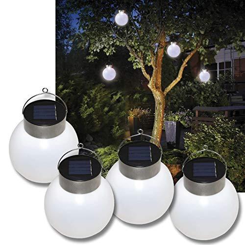 DbKW 4er Set LED Solar-Leuchtkugeln, Solarleuchte, Solar-Kugel, Solar-Laterne, Hängeleuchte, Ø 13cm Weiß…