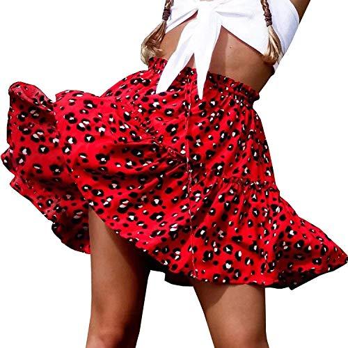 Doballa Damen Floral Taille Kordelzug mit Rüschen Ausgestelltes Boho A-Line Plissee Skater Minirock (S, Roter Leopard)