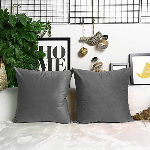 Antopm 2 fundas de almohada grises, 50 x 50 cm, lujosas fundas de almohada cuadradas de felpa suave de lujo, fundas de almohada decorativas, fundas de almohada para sofá, cama, sofá