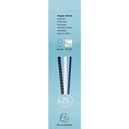 Exacompta 76500E - Une Boite 25 Reliures Spirales Plastique 29, 7x1, 6 cm (Capacité 90 à 120 Feuilles), Blanc