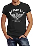 Neverless - Camiseta de manga corta para hombre, diseño con alas de moto, corte ajustado antracita L