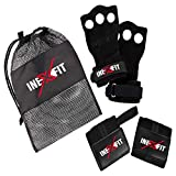 InexFit 3 Hole Leather Hand Grips for Crossfit, Gymnastics, Pull-ups, Weightlifting, WODs with Wrist...