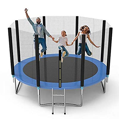 Shizzz, Trampolines for Kids, Family 5 6 8 10 12 14 ft 16 Foot Trampoline with Safety Enclosure Net with Spring Cover Padding Trampoline with Ladder Jumping Mat Outdoor (Blue, Blue 12 ft for Family)