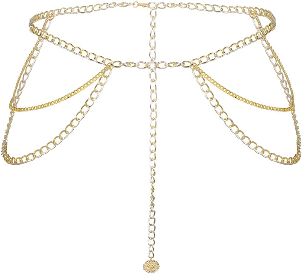 Sexy Multilayer Metal Link Waist Belt Chain Long Tassel Belly Chains Waistbands for Women Body Jewelry