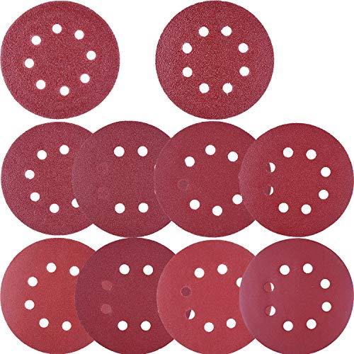 SIQUK 100 Stück Schleifscheiben Klett-Schleifscheiben 5 Zoll 8 Löcher Klettschleifscheibe 80/180/240/320/400/800/1000/1500/1500/2000/3000 Kornsortiment für Random Schwingschleifer