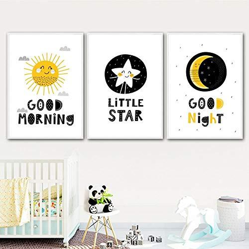 Sun Star Moon Good Morning Nordic Carteles e Impresiones Arte de la Pared Lienzo Pintura Nursery Wall Pictures Baby Girl Boy Room Decor-40x60cmx3 pcs sin Marco