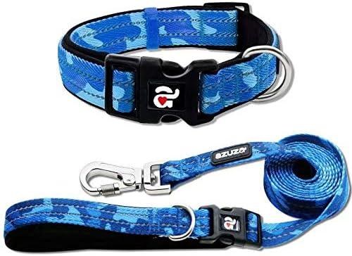 azuza Reflective Dog Collar and Leash Now on sale Padded Coll Camo Superlatite Blue Set