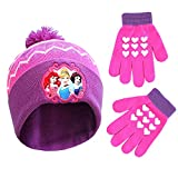 Disney Little Winter Hat, Kids Toddlers Mittens, Princess Baby Beanie for Boy GirlAges 2-4, Pink/Purple, Gloves-Age 4-7