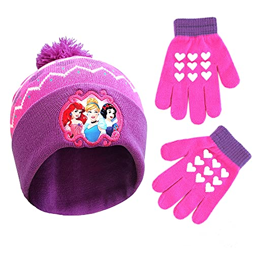Disney Little Winter Hat, Kids Toddlers Mittens, Princess Baby Beanie for Boy GirlAges 2-4, Pink/Purple Gloves Age 4-7