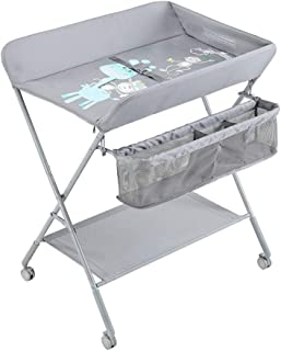 Family care/Folding Diaper Station Changing Unit with Wheels with Large Storage Basket and Casters Infant Diaper Massage Station Dresser for Household Travel