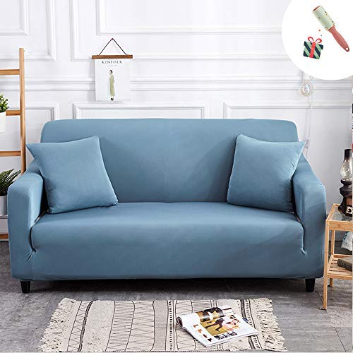 Elastisch Sofa Überwürfe Sofabezug, Morbuy Ecksofa L Form Stretch Antirutsch Armlehnen Einfarbig Sofahusse Sofa Abdeckung Hussen für Sofa Couchbezug Sesselbezug (2 Sitzer,Baby blau)