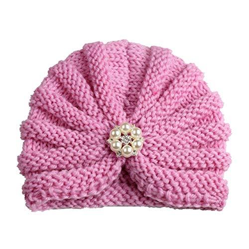 Sombrero de bebé de Invierno de Punto para niñas Color Caramelo Enfant Baby Beanie Turbante Sombreros Gorra de bebé recién Nacido para niños Accesorios-Pink with Pearls