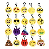 Cusfull Mini Emoji <span class='highlight'>Key</span>chain Lovely Emoji Plush Pillows Emoticon <span class='highlight'>Key</span> Ring Soft Party Bag Filler Toy Gift for Kids (20 pack)