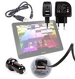 DURAGADGET Kit Cargador Coche De Doble USB+ Cable microUSB De Sincronización + Cargador Europeo De Viaje para Archos Arnova 10' / 97 G4 / 101 XS Gen 10/7 G2 / 8b G3