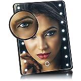 com-four® Miroir cosmétique à LED avec Miroir grossissant 10x - Miroir de Maquillage avec 16 LED - Fonctionnement sans Fil - avec Support (Noir)